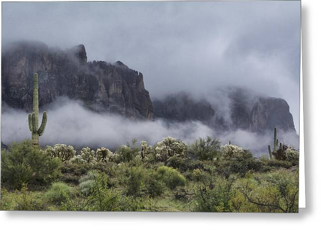 A Wave Of Fog On The Superstitions  Greeting Card