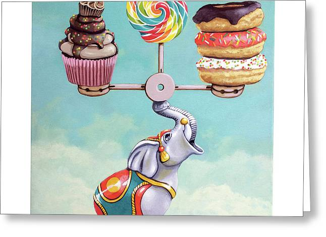 A Well-balanced Diet Greeting Card by Linda Apple