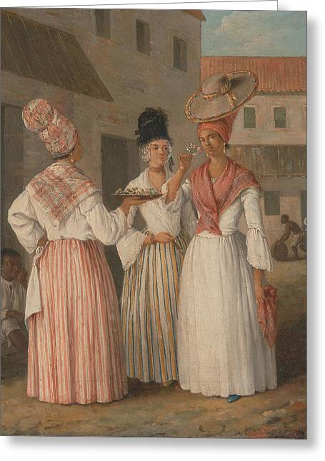 A West Indian Flower Girl And Two Other Free Women Of Color Greeting Card by Agostino Brunias