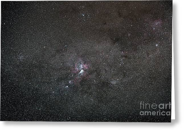 Star Formation Greeting Cards - A Wide Field View Centered On The Eta Greeting Card by Luis Argerich