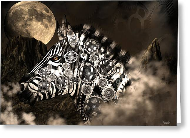 A Wild Steampunk Zebra Greeting Card