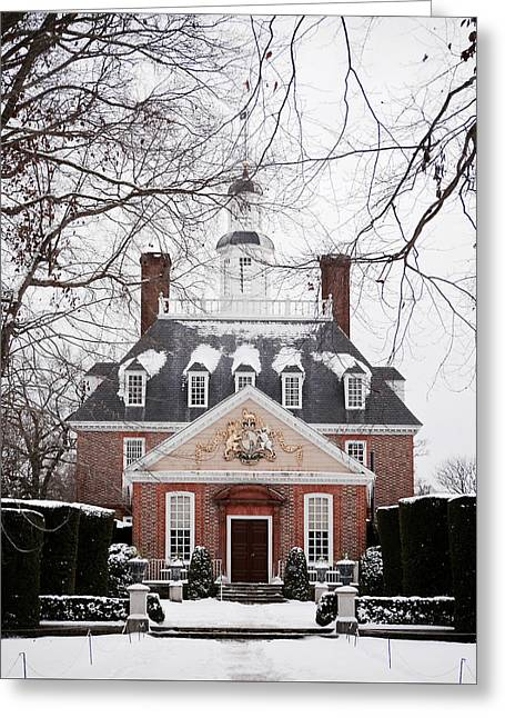 A Williamsburg Winter's Snow Greeting Card by Rachel Morrison