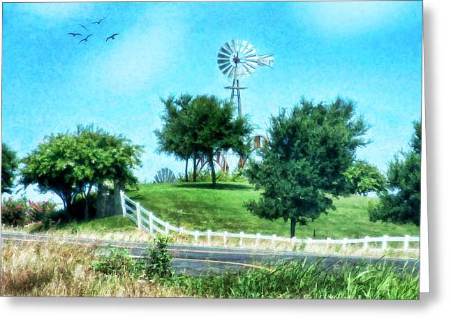 A Windmill Of Your Mind Greeting Card by Joan Bertucci