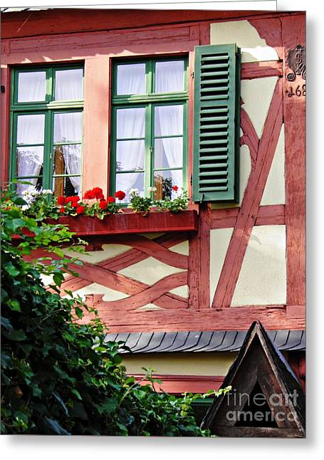 A Window In Eltville  3 Greeting Card by Sarah Loft