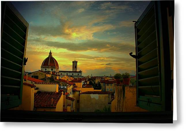 A Window On Florence Greeting Card by Barbara Brown