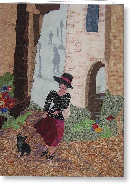 A Windy Paris Day Greeting Card by Rhoda Forbes