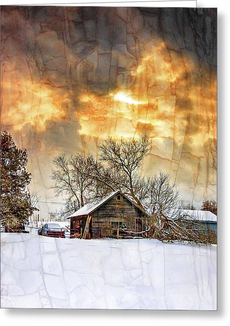 A Winter Eve - Overlay Greeting Card by Steve Harrington