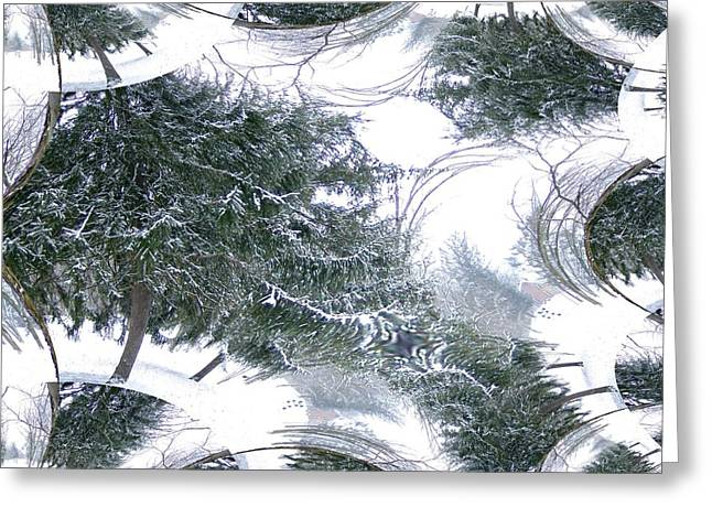 A Winter Fractal Land Greeting Card