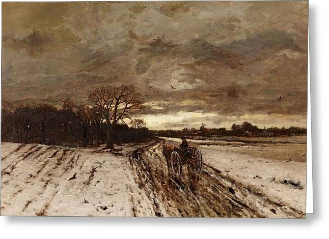 A Winter Landscape With A Horse And Cart At Dusk Greeting Card by MotionAge Designs
