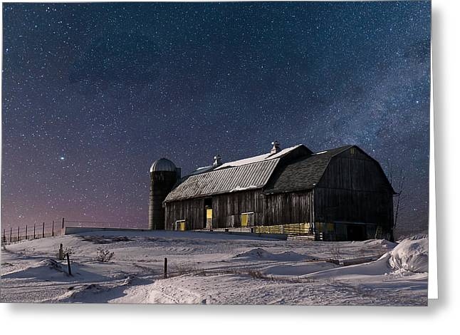A Winter Night On The Farm Greeting Card