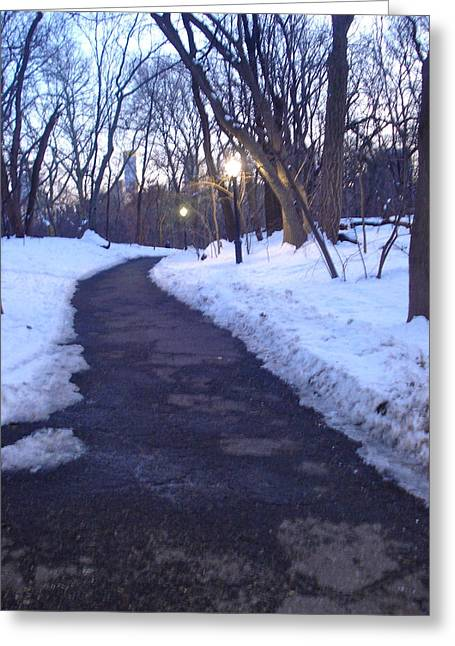 A Winter Scene In The City Greeting Card