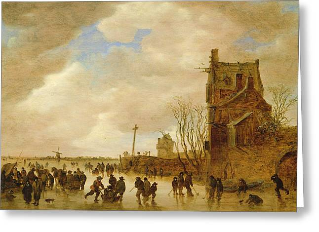 A Winter Skating Scene Greeting Card by Jan Josephsz van Goyen
