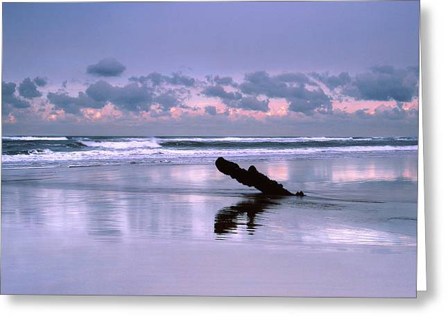 A Winter Sunset At Northcott Beach, Bude, Cornwall Greeting Card