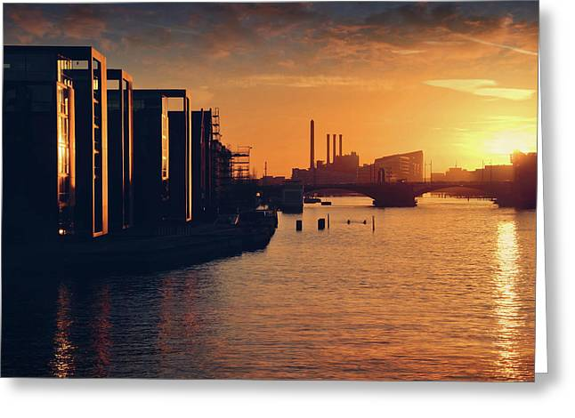 A Winter Sunset From Knippelsbro Bridge In Copenhagen  Greeting Card by Carol Japp