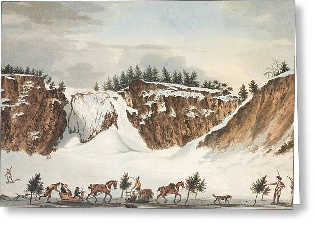 A Winter View Of The Falls Of Montmorenci Greeting Card by John Wells