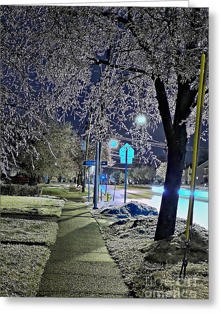 A Winter Walk In Ice Splendor Greeting Card by Daniel J Ruggiero