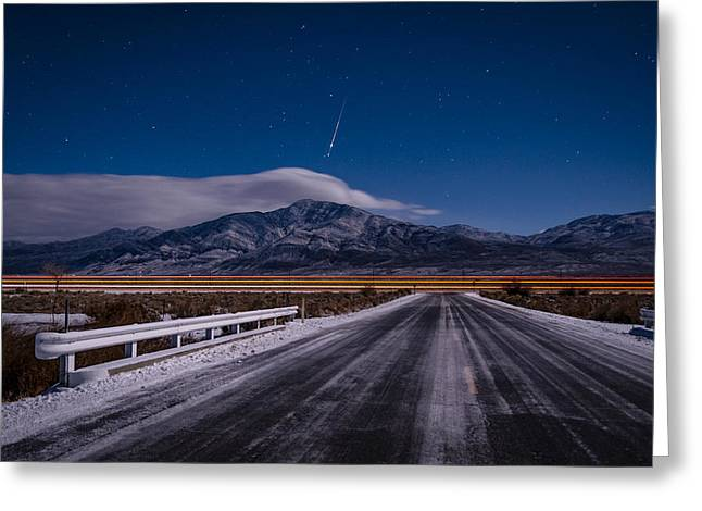 A Winters Meteor Greeting Card by Cat Connor