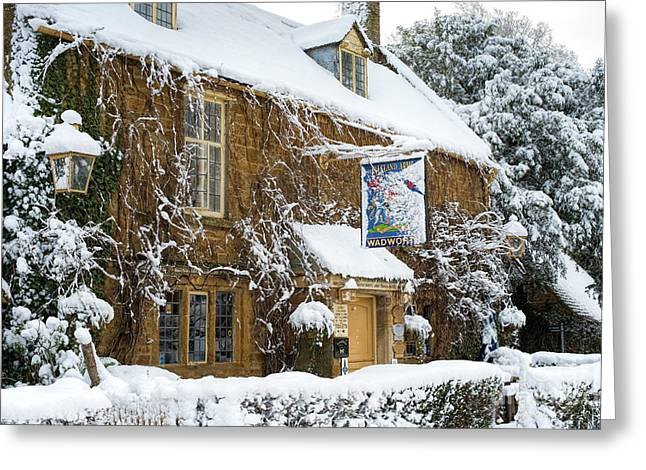 A Winters Pub Greeting Card by Tim Gainey
