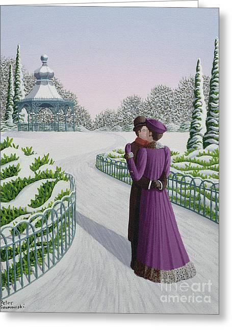 A Winter's Romance Greeting Card by Peter Szumowski
