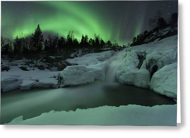 Natural Phenomenon Greeting Cards - A Wintery Waterfall And Aurora Borealis Greeting Card by Arild Heitmann