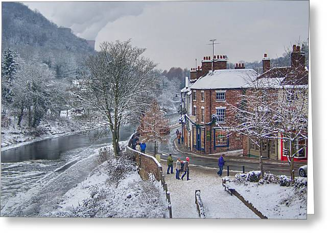A Wintry Street Scene In Ironbridge Gorge England Greeting Card