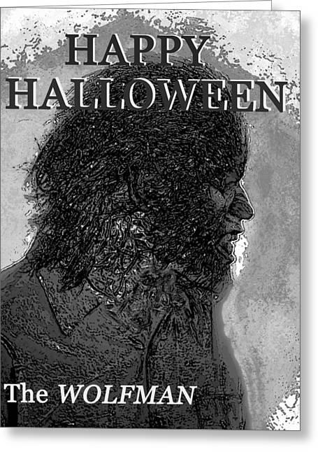 A Wolfman Halloween Greeting Card by David Lee Thompson