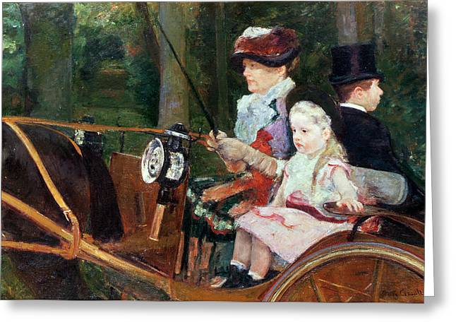 Horse And Cart Paintings Greeting Cards - A woman and child in the driving seat Greeting Card by Mary Stevenson Cassatt