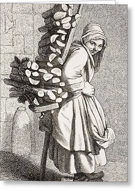 A Woman Carrying Firewood To Sell In Greeting Card by Vintage Design Pics