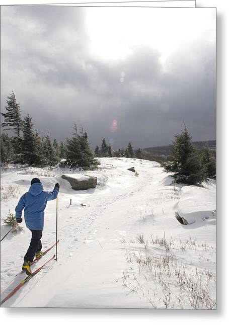 A Woman Cross Country Skiing Greeting Card by Skip Brown