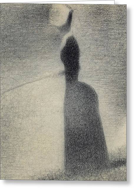A Woman Fishing Greeting Card by Georges Pierre Seurat
