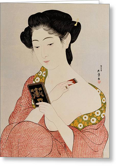 A Woman In Underclothes Greeting Card by Goyo Hashiguchi