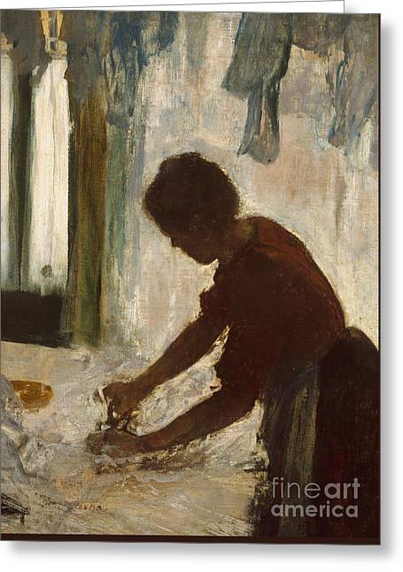 A Woman Ironing, 1873 Greeting Card by Edgar Degas