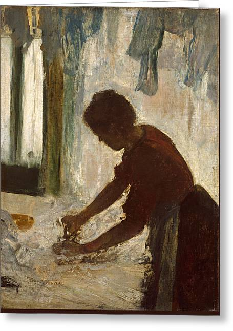 Greeting Card featuring the painting A Woman Ironing by Edgar Degas