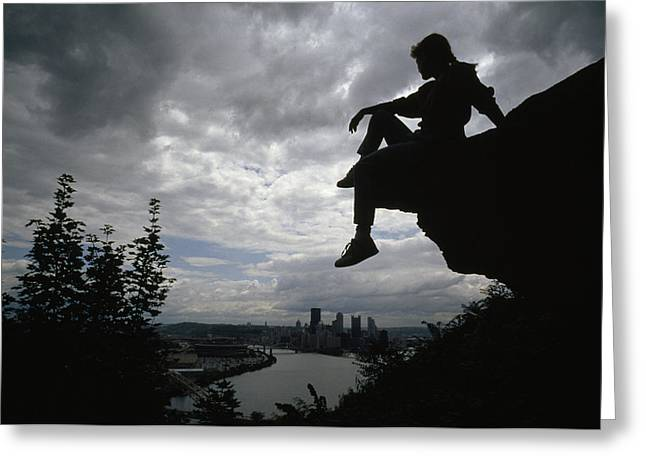 Middle Atlantic States Greeting Cards - A Woman Perched On An Overlook Greeting Card by Lynn Johnson