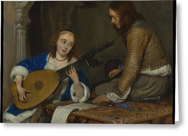 A Woman Playing The Theorbo-lute And A Cavalier Greeting Card