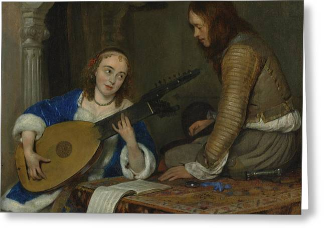 A Woman Playing The Theorbo Greeting Card