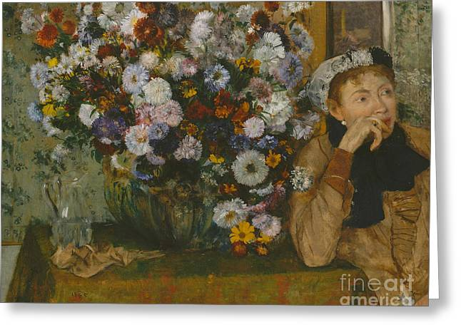A Woman Seated Beside A Vase Of Flowers, 1865 Greeting Card