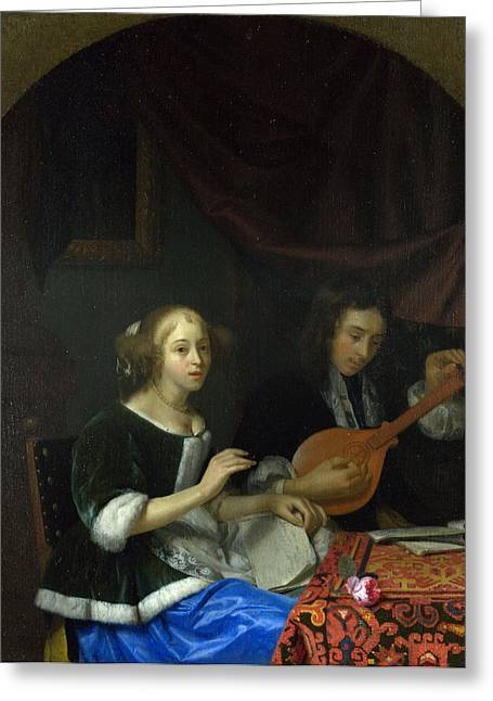 A Woman Singing And A Man With A Cittern Greeting Card by Celestial Images