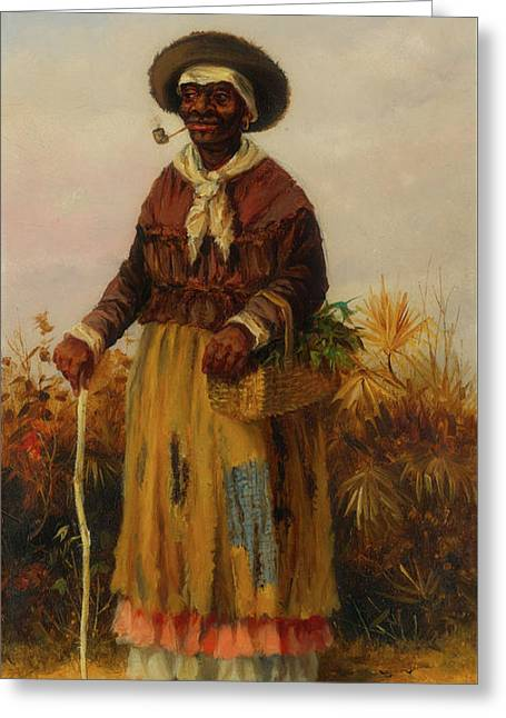 A Woman Walking Greeting Card by William Walker