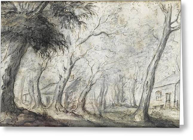 A Wooded Landscape And A River Scene Greeting Card