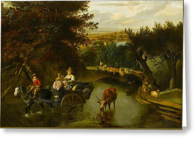 A Wooded Landscape With Peasants Greeting Card