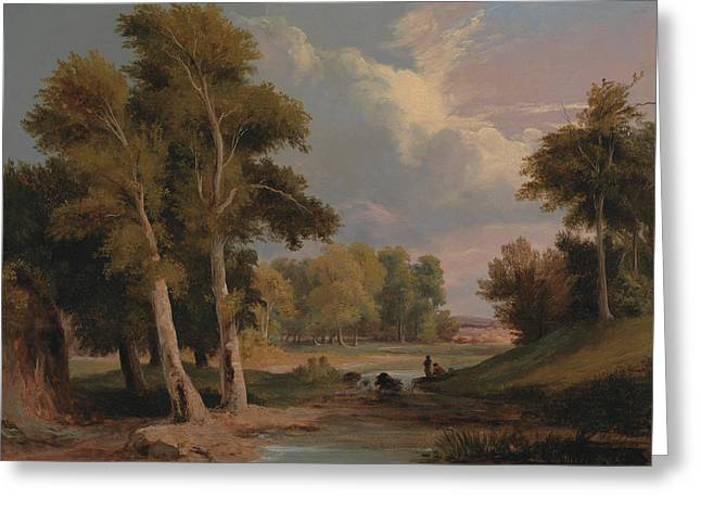 A Wooded River Landscape With Fishermen Greeting Card by James Arthur O'Connor