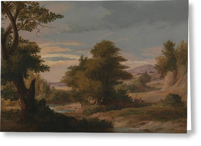 A Wooded River Landscape With Mother And Child Greeting Card by James Arthur O'Connor