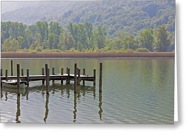 Lago Greeting Cards - A Wooden Pier At A Small Lake Greeting Card by Joana Kruse