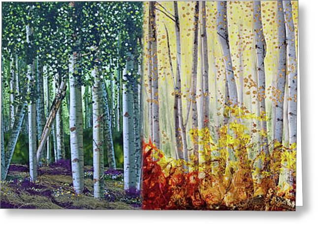 A Year In A Birch Forest Greeting Card