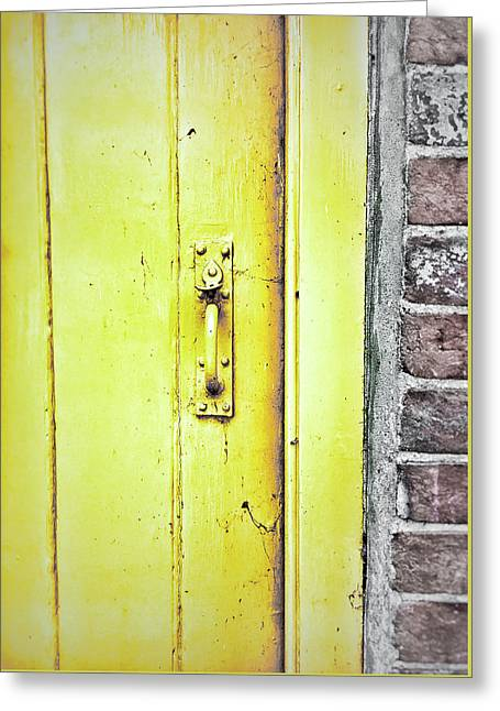 A Yellow Door Greeting Card by Tom Gowanlock