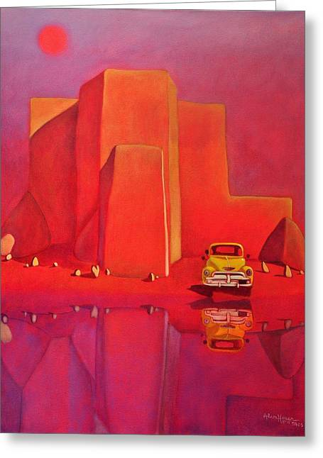 Greeting Card featuring the painting A Yellow Truck With A Red Moon In Ranchos by Art West