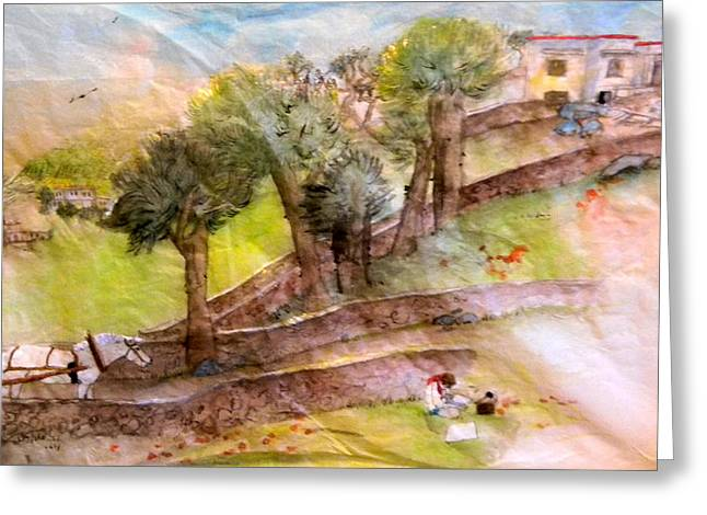 Greeting Card featuring the painting a young artist dreams of Italy by Debbi Saccomanno Chan