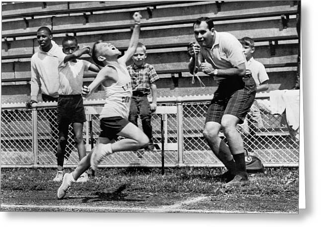 A Young Athlete Sprinting Greeting Card by Underwood Archives