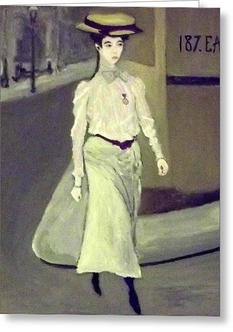 A Young Edwardian Woman Crosses The Road Greeting Card